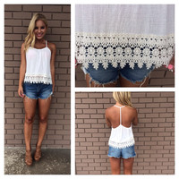 Crochet Ribbed T-Back Tank - IVORY