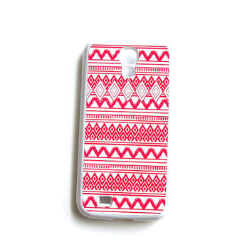 Galaxy S4 Gear Case Tribal Hot Pink White Hard Case
