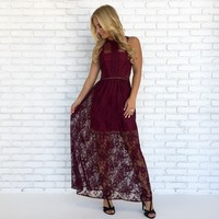 Southern Belle Lace Maxi Dress in Wine