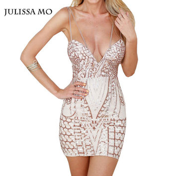 Julissa Mo Women Sequin Dress Double Strap Sleeveless Open Back Dresses Vestidos Sexy Bodycon Party Dress Robe Longue Femme