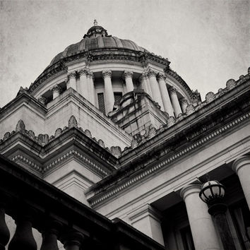SALE Black and White Capitol Building Photograph, Olympia Washington, Architecture Photography, Looking Up, Dome, Dark Art, Moody