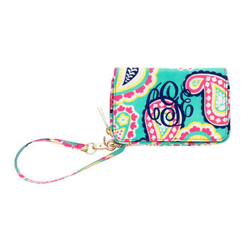 Monogrammed Wristlet, Mint Green Hot Pink Paisley Wristlet, Purse Wallet, Monogram Wristlet, Personalized Wristlet, Wallet, Monogram Clutch