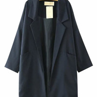 Lapel Collar Three Quarter Sleeves Long Coat With Pockets