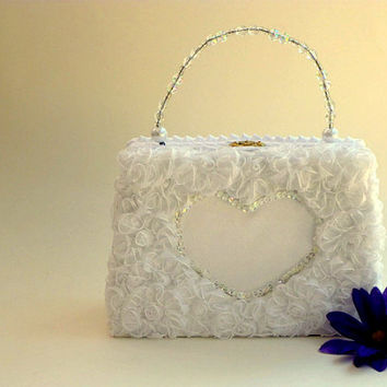 Flower girl purse, flower basket, girls, weddings, bridal party, Easter, Cinco de Mayo, white, lace, beads, satin
