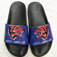 Gucci Slippers Wolf Head Print Word Logo Shoes B104471-1 Blue
