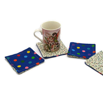 Fabric Coasters Set Polka Dots  Set Of 4 Drink Coasters Floral  Coasters Mug Rug  Fabric Mug Rug 2 Sided Coasters Reversible