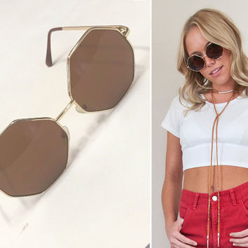 60s Style Hexagonal Sunglasses with gold tone frames and Amber Lenses | round lennon hippy beatnik hippie glasses boho 1970s gold sunnies