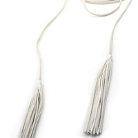 Leather Tassel Double Wrap Choker Necklace - White