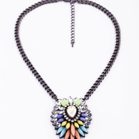 Mixed Color Drop Shape Oversize Pendant Necklace