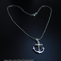 Silver Anchor Pendant Necklace, Modern, Fun, Everyday Jewelry, Classic Anchor Necklace, Sailor Jewelry,