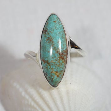 No 8 Mine Turquoise Ring Sterling Silver Ring Natural Gemsstone Ring Natural Gemstone Jewelry