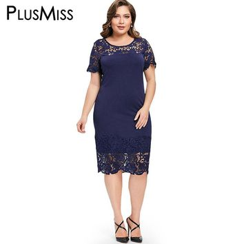 PlusMiss Plus Size 5XL Lace Crochet Pencil Midi Dress Summer 2018 Short Sleeve Work Wear Office Party Dresses Ladies Big Size