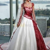 Red White A-line Strapless Satin Tulle Cap Sleeve Wedding Dress