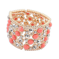 New 2014  Luxury Alloy Pink Beads Hollow Out Punk Rock Cuff  Bracelets Bangles Fashion  Big  Women Cuff Jewelry  Accessories