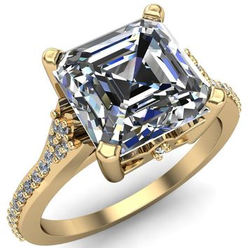 Nyla Asscher Moissanite 4 Prong Diamond Shank Ring