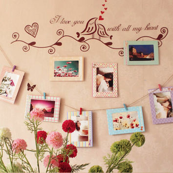 2016 Creative Home 8Pcs 6 inch Rectangle Paper Photo Frame Wall Picture Album DIY Hanging Rope Frame Home Decer