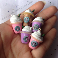 Handmade mini clay Starbucks dust plug charm ~ 1 piece