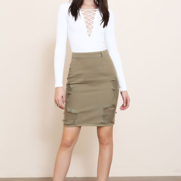 Distressed Khaki Denim Skirt