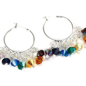 Om Shakti Hoop Chakra Earrings with Swarovski Crystals