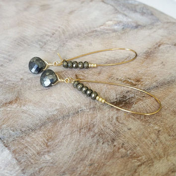 Pyrite Earrings, Gold Pyrite Earrings, Gold Pyrite Hoop Earrings, Pyrite Hoop Earrings, Gold Hoop Earrings, Gold Pyrite Hoop, Pyrite