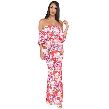 Coral Red Floral Print Off-the-shoulder Maxi Dress