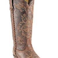 Corral Women's Floral Whip Stitch Brown Cowgirl Boots