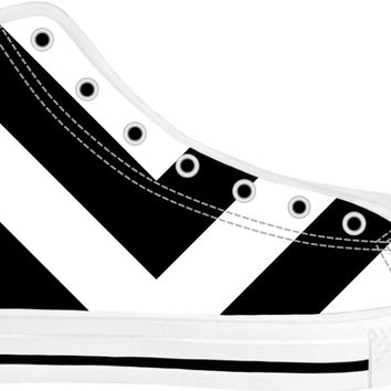 Simple V pattern white unisex high tops design, minimalist design shoes