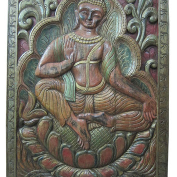 "Hand Carved Wood Wall Art Yoga Interior Decor Buddha Vitarka Teaching 36"" X 48"""