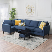 Carolina Fabric Sectional Couch with Storage Ottoman