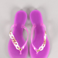 Chain Jelly Thong Flat Sandal