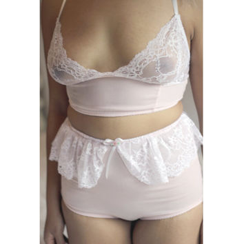Ballet Lace Pink Longline Bra and High Waisted Panties Set