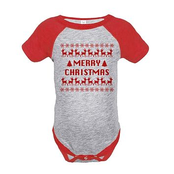 Custom Party Shop Baby's Ugly Sweater Merry Christmas Onepiece Red