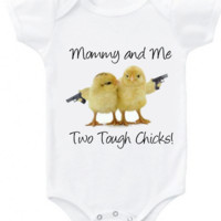 Funny Mommy and Me Two tough chicks! Graphic t shirt or short/long sleeve baby girl bodysuit