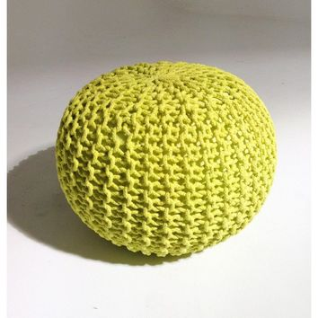 Modern Handmade Round Knitted Pouf | Sunny Lime | 50x35cm