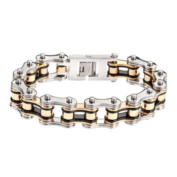 Black Silver and Gold Stainless Steel Chain Bracelet