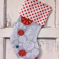 25% OFF WEEKEND SALE- Snowflake Stocking -Christmas Stocking-