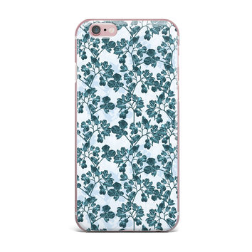 "Julia Grifol ""Green Flowers"" Teal iPhone Case"