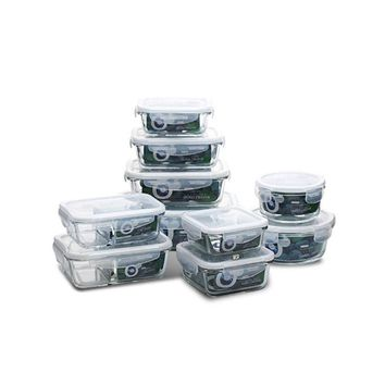 Glass Meal Prep Food Storage Lunch Box with BPA Free Airtight Snap Locking Lids Prep Freeze Reheat Oven Safe Containers Crisper