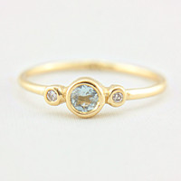 Aquamarine and Diamond Gold Ring 14k Gold Natural Aquamarine Ring Diamond Gold Ring Aquamarine Engagement Ring Alternative Engagement Ring