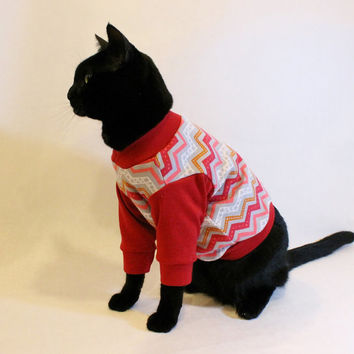 CoolCats Red and Gray Chevron Knit Cat Shirt