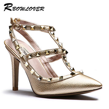 RBOWLOVER 2016 Women Pumps Thin High Heels Point Toe Rivets Muti color  Sandals  Size 33-43