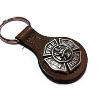 Fire Fighter Leather Key Fob
