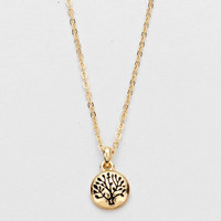 Tree Of Life Gold Disc Necklace