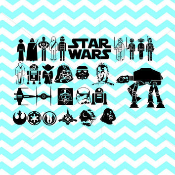 Star Wars SVG Star Wars Clipart SVG Star wars for Silhouette Cameo or Cricut Star wars vector darth vader yoda kylo ren storm trooper r2d