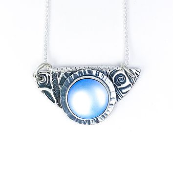 Goddess Moon Pendant: Sterling Silver Opalite Half Moon Necklace