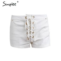 Vintage white lace up white shorts Women chic pocket summer shorts Casual street wear shorts bottom