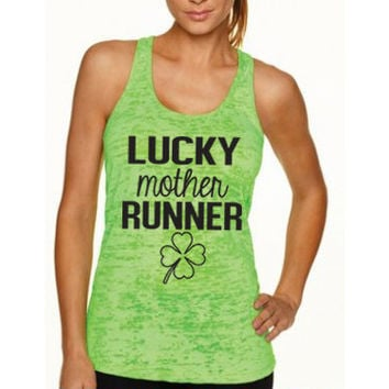 Lucky Mother Runner Tank Top. St. Patricks Day. Womens Running Tank. Motivational Fitness. Workout Tank. Marathon. Half Marathon. Funny Tank