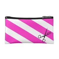 Pink Striped Hair Shears Personalized Wristlet