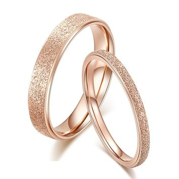 Classic Simple matte Narrow/Wide Rings Stainless Steel for Women Trendy ring Rose Gold Color Wedding Band Jewelry gift  ZK30