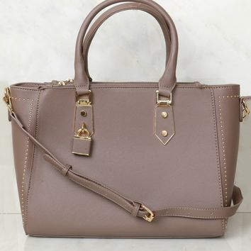 Studded Open Tote Taupe